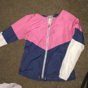 Blue& pink, white raincoat but gray in the insides